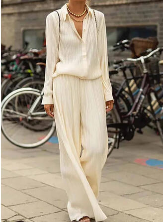Solid Shirred Extra stor storlek Elegant Enkel Kostymer