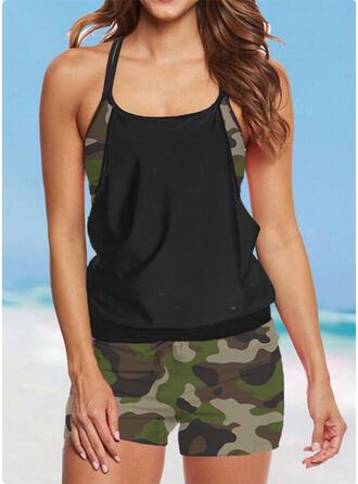 Splice color Strap U-Neck Plus Size Casual Tankinis Swimsuits