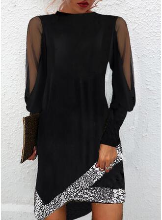 固体 スパンコール 長袖 シフトドレス 膝上 リトルブラックドレス/エレガント ドレス