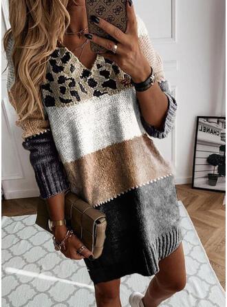 印刷 カラーブロック ヒョウ Vネック カジュアル セータードレス