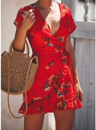 Impresión/Floral Manga Corta Cubierta Sobre la Rodilla Casual Vestidos