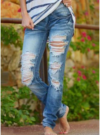 Pevný Bavlna Dlouho Neformální Vinobraní Plus velikost hlubokým výstřihem patch Bandáž Kalhoty Denim & Džíny