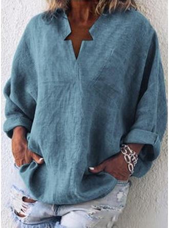 Sólido Cuello en V Manga Larga Casual Elegante Blusas