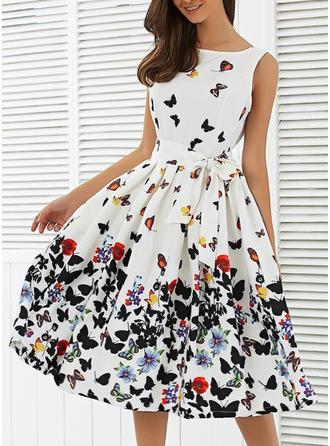 Nadrukowana/Kwiatowy Bez rękawów W kształcie litery A Długośc do kolan Przyjęcie Sukienki