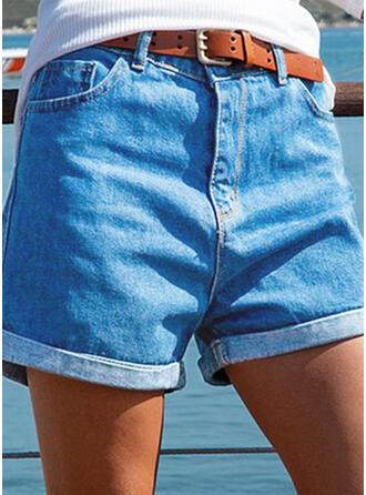 Sólido Algodón Por encima de la rodilla Clásico Tallas Grande Bolsillo shirred Pantalones Pantalones cortos Vaqueros