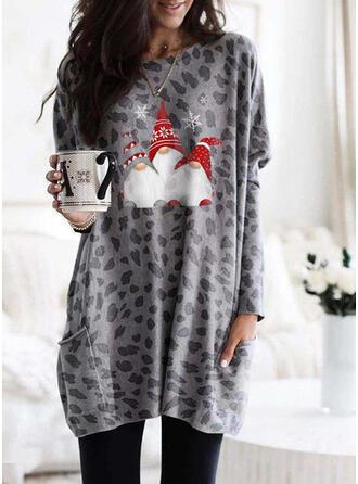 Impressão Leopardo Neck redonda Manga comprida Camisola de Natal
