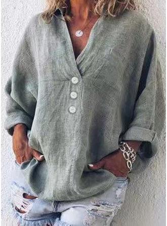 Jednolity Dekolt w kształcie litery V Długie rękawy Zapięcie na guzik Casual Elegancki Bluzki
