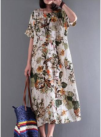 Impresión/Floral Mangas 1/2 Tendencia Casual/Bohemio/Vacaciones Midi Vestidos