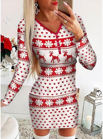Állatminta Hosszú ujjú Testre simuló ruhák Térd feletti Karácsony/Hétköznapokra φορέματα