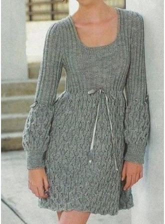 Sólido Punto De Cable Punto Grueso Cuello Redondo Vestido de Suéter