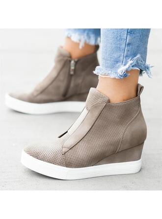 Γυναίκες Καστόρι Γωνία κλίσης Πλατφόρμα Σφήνες Με Φερμουάρ παπούτσια