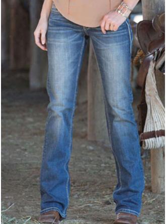 Shirred Extra stor storlek Elegant Enkel Denim & Jeans