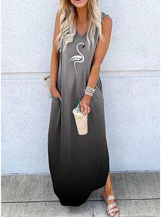 Estampado Animal Sin mangas Tendencia Casual Maxi Vestidos