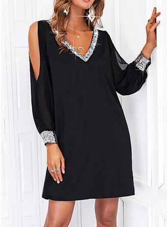 固体 スパンコール 長袖 冷たい肩の袖 シフトドレス 膝上 リトルブラックドレス/カジュアル チュニック ドレス