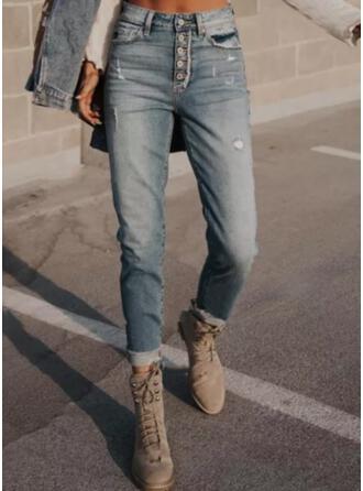 Sólido Jean Grandes Casual Vintage Tamanho positivo Bolso Button Jeans