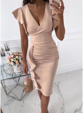固体 半袖 フリルスリーブ ボディコンドレス 膝丈 エレガント ペンシル ドレス