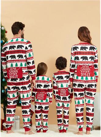 Bear Carta Impressão Família Combinando Natal Pijama