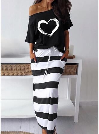 Print/Striped/Heart Short Sleeves Sheath Casual Midi Dresses