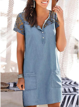 Lace/Patchwork Short Sleeves Shift Above Knee Casual/Denim Dresses