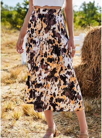シフォン 印刷 ミッドカーフ ラインスカート