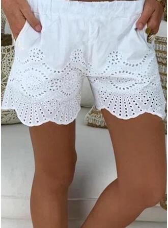 Sólido Por encima de la rodilla Casual Pantalones Pantalones cortos