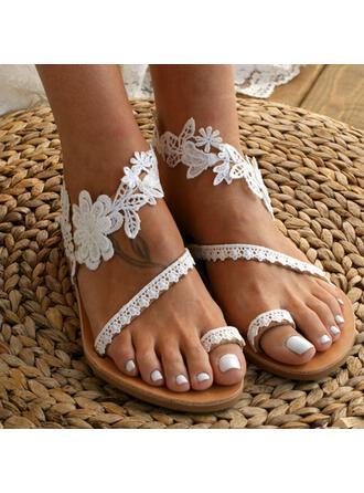 Dla kobiet Skóra ekologiczna Płaski Obcas Sandały Plaskie Pierścień na palec Z Koronka Kwiaty obuwie