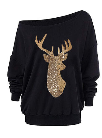 pailletten One Shoulder Lange Mouwen Kerst Sweatshirt