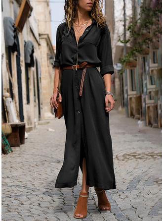 Egyszínű Hosszú ujjú A-vonal Koszula Kis fekete Maxi φορέματα