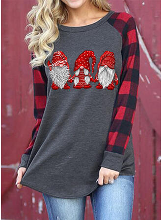 Nadruk W kratę Okrągły dekolt Długie rękawy Casual Boże Narodzenie T-shirty