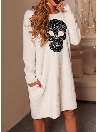 Halloween Print Long Sleeves Shift Knee Length Casual Tunic Dresses